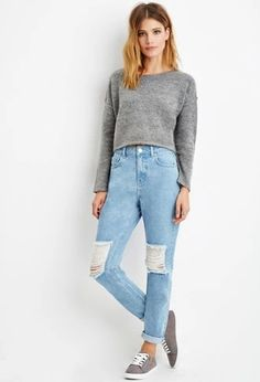 Contemporary Life in Progress High-Waisted Ripped Jeans | Forever 21 #forever21denim