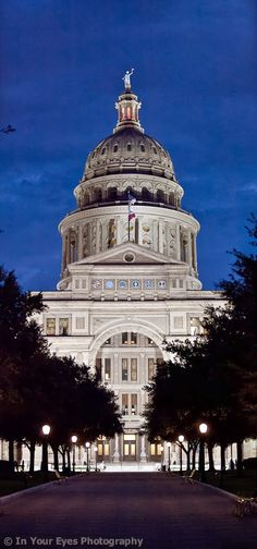 Texas State Capitol, TX - view from congress ave. Larger than the white house in DC made from local granite.