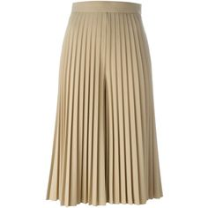 Givenchy pleated culottes (140.255 RUB) ❤ liked on Polyvore featuring pants, capris, skirts, wool blend pants, givenchy, pleated wide leg trousers, brown pants and high rise pants