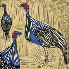 ARTFINDER: Vulturine Guinea Fowl by Marian Carter - One of a series inspired by a trip to Kenya