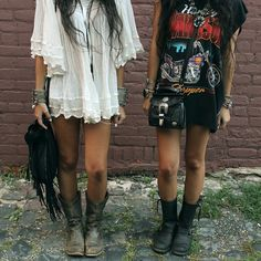 I would wear what the girl on the right is wearing while my bestfriend matches the girl on the left. We're opposites