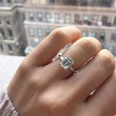 Emerald Cut Diamond Engagement Ring with Baguettes