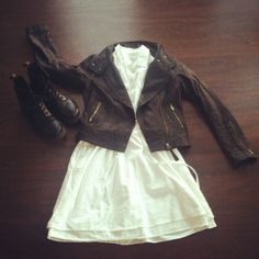 #ootd Cotton dress | leather jacket | docs  Shoppalu.com