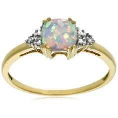 10k Yellow Gold, October Birthstone, Created Opal and Diamond Ring. This is everything I want in a ring.