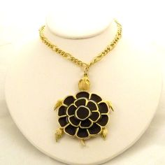 Vintage Turtle Pendant Necklace Articulated Black Gold by Revvie1, $16.00