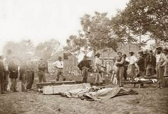 This picture was taken in May of 1864, and shows a Civil War Burial in Fredericksburg, Virginia.