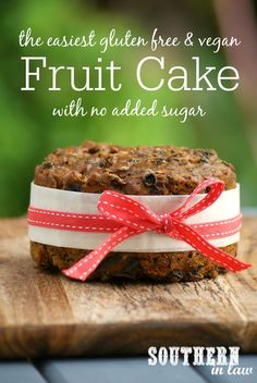 The Easiest Vegan & Gluten Free Christmas Cake Recipe with No Added Sugar - low fat, gluten free, vegan, refined sugar free, healthy, egg free, dairy free