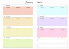 Arc Planner Printable Pages | 2014 printable week on two pages planner for ARC/filofax/other ...