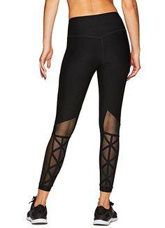 1322dc8fba0b9 RBX Active Women's Mesh Yoga Workout Leggings Black XS Sorte Leggings,  Ispinde
