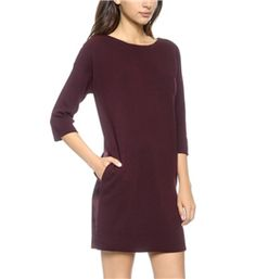 Vince - Sweater Dress: This sweater dress has a stylish twist - a slinky fabric back. It makes a pretty sweater dress a stylish option for a nicer dinner or birthday party.