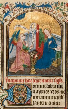 Miniature from an illuminated book of hours from Southern Netherlands (Bruges), ca The Annunciation to the Virgin, Latin. Medieval Manuscript, Medieval Art, Illuminated Manuscript, Art And Illustration, Archangel Gabriel, Book Of Kells, Mary And Jesus, Book Of Hours, Gothic Art