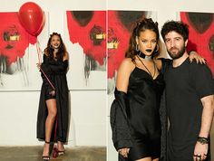 Rihanna wearing Chrome Hearts coat and dress, Manolo Blahnik Chaos sandals at Anti album cover launch