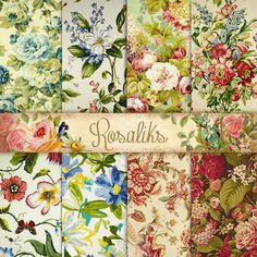 My Beautiful Garden. Floral Digital Paper Pack Paper by rosaliks Digital Scrapbook Paper, Digital Papers, Printable Paper, Free Paper, Floral Fabric, Beautiful Gardens, Flower Art, Vintage World Maps, Scrapbooking