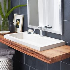 Trough 3619 Bathroom Sink. Great sink area. Wonder if the wood is fully treated though?  #ibtsdiego #bathrooms