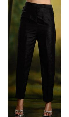 High fashion silk cigarette trouser pants in black color. Available in small to large size.