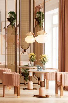 #tendencedeco #vintage #midcentury #mezzocollection #mezzogeneration #midcenturymodern #midcenturyfurniture #midcenturystyle #luxuryinteriordesign #decorinspiration #designtrends #designinspiration #exclusivedesign #furnituredesign #inspirations #luxuryfurniture #uniquedesign #homedesignideas #luxury #interiorarchitecture #interiorismo #luxuryliving #luxuryupholstery #upholstery #screen #coffeetable #diningchair #restaurant Restaurant Interior Design, Commercial Interior Design, Shop Interior Design, Cafe Design, Commercial Interiors, Interior Design Inspiration, Deco Restaurant, Luxury Restaurant, Architecture Restaurant