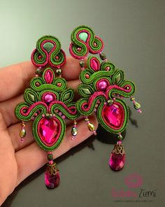Chartreuse pink earrings, long green and hot pink earrings, big glow chandelier earrings with crystals, gorgeous earrings for the evening