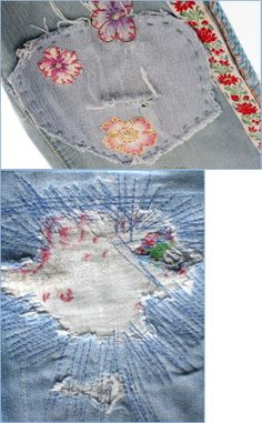 Denim patches: Sweet pea