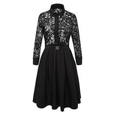 VOGTORY Womens Vintage 34 Sleeve Black Lace Flare Aline cocktail Party Dress * You can get more details by clicking on the image. Note: It's an affiliate link to Amazon.