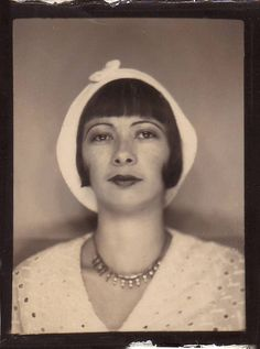 +~ Vintage Photo Booth Picture ~ Miss Elegant in her white beret.