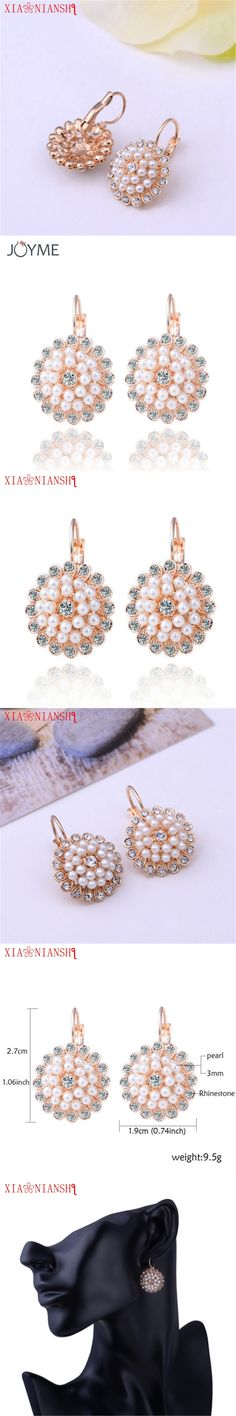 New Fashion Genuine Natural Freshwater White Pearl Rhinestones Earrings bijoux femme Charm Jewelry Gold Color Earrings For Women