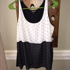 Express tank top Black white top with silver sequins Express Tops Tank Tops