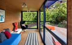 12 Homes Made From Shipping Containers: Poteet Architects, a firm known for its adaptive reuse of existing buildings, designed this 32-square-foot guest house in San Antonio, Texas using a shipping container.