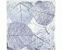 Ana Dora: Original Etching LEAVES SQUARE Garden Fine Art Print Wall Decor Aquatint Limited Edition 12x12 $48.00