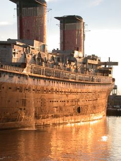SS United States. Built in 1952 out of the most amount of aluminum ever used in a construction project. She is bigger than the Titanic by 107.5 feet.