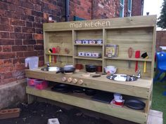Mud Kitchen Playroom Ideas Mud Kitchen For Kids Mud Outdoor Play Kitchen, Diy Mud Kitchen, Mud Kitchen For Kids, Outdoor Kitchen Design, Kitchen Corner, Kitchen Ideas, Kitchen Designs, Natural Playground, Outdoor Playground