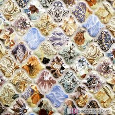 Shell-like pottery shard inspired ceramic wall tiles. | The Decorating Diva, LLC