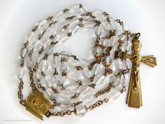 Art Deco Clear Glass and Brass Dual Sacred Heart Vintage Rosary