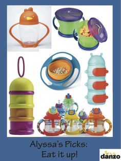On-the-go munchies are Danzo Baby diaper bag essentials. And these travel feeding products put the fun in functional: (clockwise from top left) lollacup, Munchkin Snack Catcher, Boon Inc Caterpillar, Nuby USA cups, Beaba stacker and Gyro Bowl.