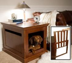 DenHaus TownHaus Indoor Dog House and End Table - Mahogany