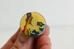 PEGASUS PIN White Pegasus with Rainbow Round METAL ENAMEL PIN gift for girl