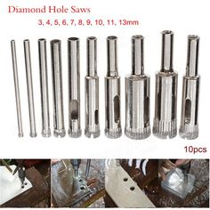 10pcs Diamond Hole Saw Drill Bit Set 3mm-13mm Tile Ceramic Glass Porcelain Marble Hole Saw Sale - Banggood.com