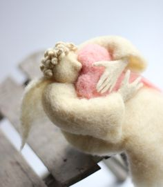 Dreamy  Angel with A Big Pink Heart - Needle Felted - Art Doll. $100.00, via Etsy.