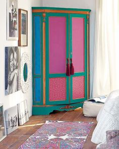 pink green and blue painted armoire armario Funky Furniture, Paint Furniture, Furniture Makeover, Furniture Decor, Furniture Design, Painted Wardrobe, Wooden Wardrobe, Wardrobe Furniture, Mirrored Wardrobe