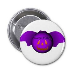 Halloween Purple Baseball Bat Pinback Buttons