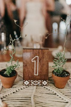 Terra cotta potted succulents + wood table numbers | Image by Brett & Jessica