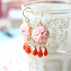 Pink and Red Chandelier Earrings by NestPrettyThingsShop on Etsy, $25.00