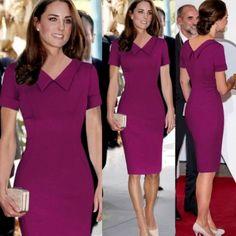 Stylish Lady Women's Fashion Casual Short Sleeve Lapel Solid Bodycon Slim Shift Pencil Dress