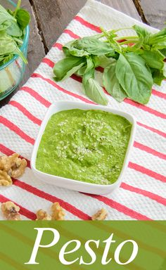 Healthy Spinach Basil Pesto! Dairy free, lower in fat that traditional pesto and full serving of veggies! This is so easy to make!