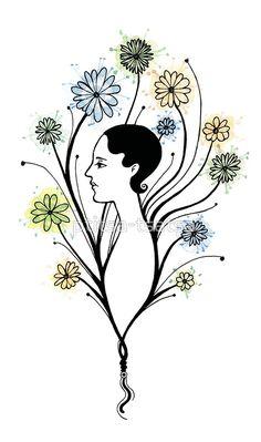 """""Flora"", floral art, girl's profile, flowers, ink & watercolor"" Art Prints by ptitsa-tsatsa | Redbubble"
