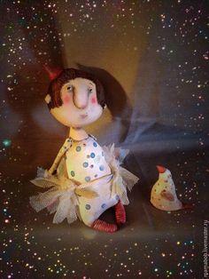 Купить Птичка - разноцветный, девочка, цирк, текстильная брошь, грунтованный текстиль, акрил, птичка, кукла