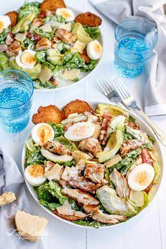 Skinny Chicken and Avocado Caesar Salad #salads #supersalads https://www.booyafitness.com/