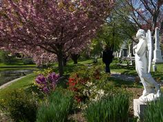 Spring in Green-Wood Cemetery, Brooklyn NY Usa Greenwood Cemetery Brooklyn, Cemetery Statues, Brooklyn New York, Ny Usa, Sidewalk, Monuments, Beautiful, Candles, Spring