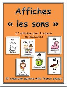 Affichez les sons communs de la langue française dans votre classe! Voici une série de 27 fiches simples et facile à lire. Chaque affiche inclue le son, une image et un mot.   $4.00