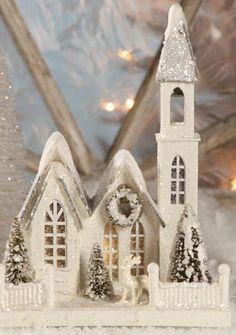 "Amazon.com - Bethany Lowe - Christmas - Ivory Church Medium - LG1773 - 11""x8"""