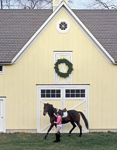 Yellow Horse Barn- like the color palate for the house. Horse Stables, Horse Barns, Old Barns, Horses, Horse Tack, Country Barns, Country Life, Country Living, Country Fair